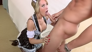 Lustful madam having big silicon breasts and wearing black stockings is fucking wildly. She is riding her lover's strong cock to feel real excitement.