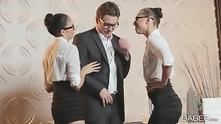 Young dude is ready to test his nasty co-workers. These beautiful brunette sluts in stocking are always at his service, this time they get rammed and facialized.