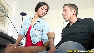 This adorable Latina gals is ready to take Mick's fantastic pecker in her tight pussy. She's also very eager to suck his dick, she's so passionate about it.