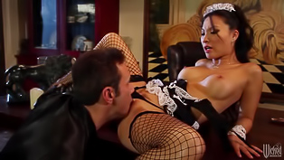 Freaky porn bitch in a maid outfit Asa Akira will blow your mind. She wears fishnets and she's eager for a big pecker. Her man know how to please for sue.
