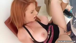 Adorable ginger slut with a curvy body is so damn freaky. She displays her large butt and gets pleased by her handsome partner. Lady just loves naughty action.