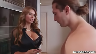 Sexy babe having cool tits is fucking with her strong boyfriend and with her slutty stepmother. This horny MILF is demonstrating her awesome sex skills.